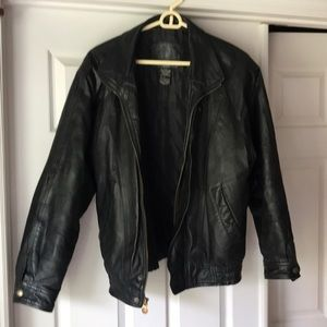Men's Black leather jacket Small Expression brand